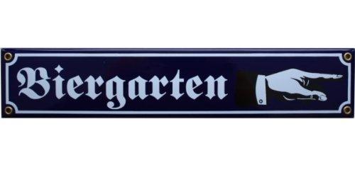 Bier Garten Emaille Schild Biergarten mit Hand nach rechts 8 x 40 cm Emailschild blau.