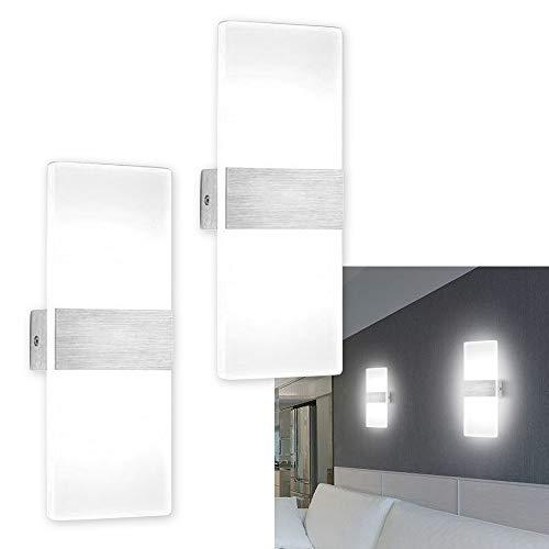 Hengda 2 Stücke Wandleuchte LED Innen Wandlampe Wandbeleuchtung Modern (6W Kaltweiß*2)