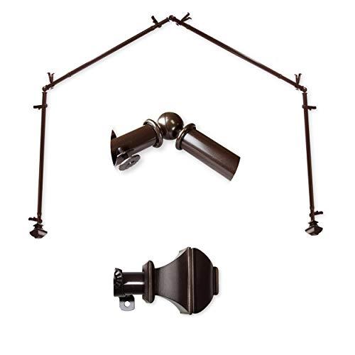 """A&F Rod Décor - Phife 13/16"""" 4-Sided Bay Window Curtain Rod 28-48 inch (each side) - Cocoa"""