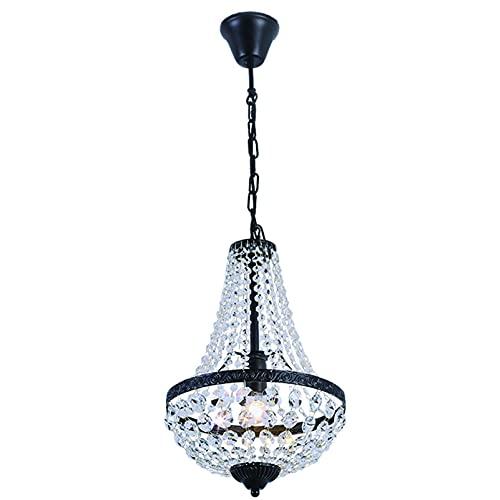 Lámpara de Araña de Cristal Moderna Iluminación Cristal Transparente de Cristal K9 Lámpara Colgante de 1-llama Lámparas Colgantes de Metal Para Dormitorio Luces de Comedor Negro Ø30cm excl. E27