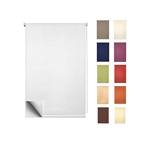 Garduna FIX Thermo-Rollo # Weiss 80 x 210cm für TÜREN # Smartfix - Klemmfix - ohne Bohren - viele Farben & Größen- komplett verdunkelnd/Blackout
