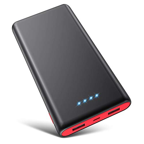 Portable Charger Power Bank 25800mAh [Newest Black-Red Fashion Design] High Capacity External Battery Pack with LED Status Indicator, 2 USB Ports Power Bank Compatible with Smart Phones,Tablet etc
