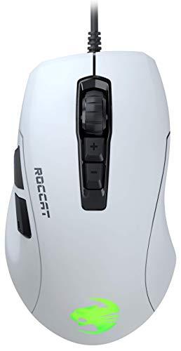 Roccat Kone Pure Ultra-Light Ergonomic Gaming Maus (Optischer Sensor 16000 dpi, RGB-Beleuchtung, 66G, Ultra leicht), weiß