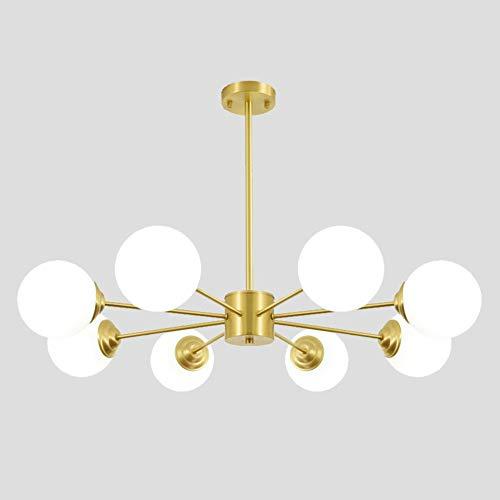 TopJiModerne gouden kroonluchter, E27 fitting met wit melkglas glazen lampenkap hanglamp, woonkamer eetkamer slaapkamer plafond lamp