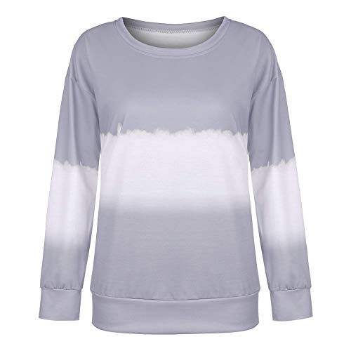 MU2M Womens Long Sleeve Tops Casual Crew Neck Tie Dye Print T-Shirt Blouse Grey US L