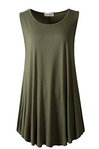 LARACE Women Solid Sleeveless Tunic for Leggings Swing Flare Tank Tops (1X, Army Green)