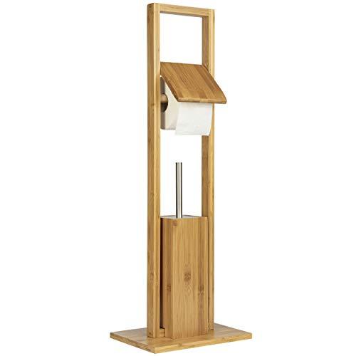 ONVAYA® WC-Garnitur aus Bambus   Natur   Toilettenpapierhalter stehend   ohne Bohren   WC-Bürstenhalter & Klorollenhalter Holz