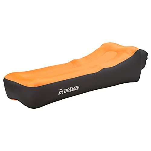 EchoSmile Orange Ergonomic Outdoor Inflatable Sofa, Air Sofa Couch with Pillow, Waterproof and Air Leak Proof Camping, Chair Bed or Portable Hammock with Compression Bag Without Pump