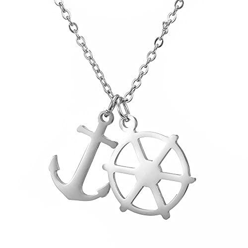 Timón y Ancla, Collar con Colgante Doble para Hombres y Mujeres, baratija Pirata Retro de Acero Inoxidable, Acero