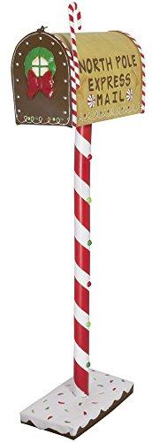 Trendyshop365 Weihnachtlicher bunter Deko - Briefkasten/aus leichtem Metall/im amerikanischen Postkasten-Stil/Schriftzug North Pole Express Mail/Originalgröße/ca.102cm / handbemalt