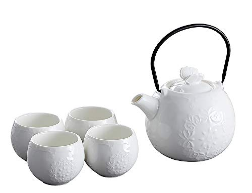 Japanese Style Tea Set-White Teapot Cups Set, Modern Ceramic Tea Pot with 4 Teacups with build in infuser for Loose Tea, For Restaurant and Home Daily use