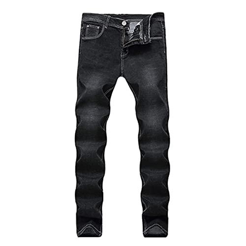 ShFhhwrl Jeans Mens Jeans Pure Color Men Casual Black JeansSlim Straight Elasticity Overalls Pants Male Skinny Jeans Men 33 Black