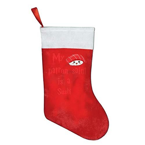 My Patron Saint is a Sushi Christmas Stockings Xmas Gift 16.5' Christmas Socks Santa Christmas Tree Hanging Ornament Fireplace Xmas Tree Holiday Party Decoration Gifts
