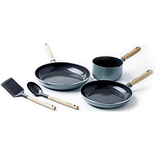 GreenPan Batería de Cocina Antiadherente de Aluminio con Revestimiento de Cerámica, Apta para Todo Tipo de Cocinas, Inducción, Horno y Lavavajillas, 5 piezas, Azul Celeste