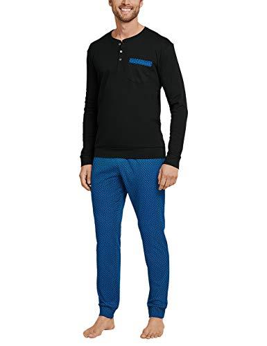 Schiesser Herren Anzug Lang_168403 Zweiteiliger Schlafanzug, Blau (Royal), 52