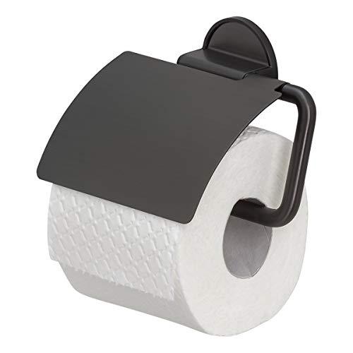 Tiger Tune Toilettenpapierhalter mit Deckel, Montage ohne Bohren dank integrierter Klebefolie, optional Befestigung zum Schrauben, Black Metal gebürstet/Schwarz, 150 x 123 x 33 mm