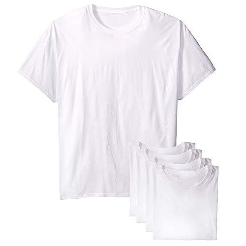 Kit com 5 Camisetas Básicas Masculina T-shirt Algodão Branca Tee (G)