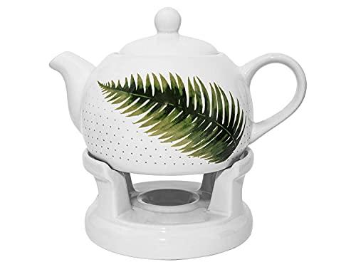 Set teiera con teiera, fornello, colore: bianco