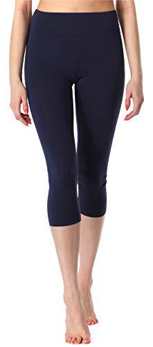 Merry Style Leggings 3/4 Pantaloni Capri Donna MS10-220 (Blu Navy, S)