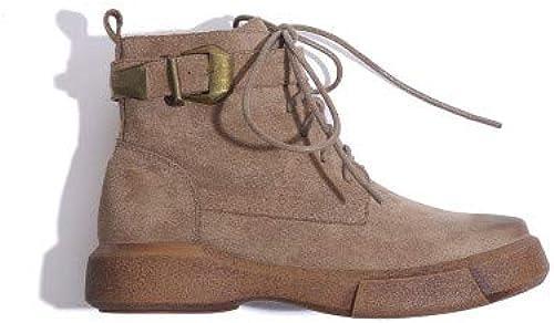 Shukun Botines Además de Las Stiefel de Terciopelo Martin Stiefel Stiefel de damen schuhe Planos de algodón de Personalidad Plana de Invierno