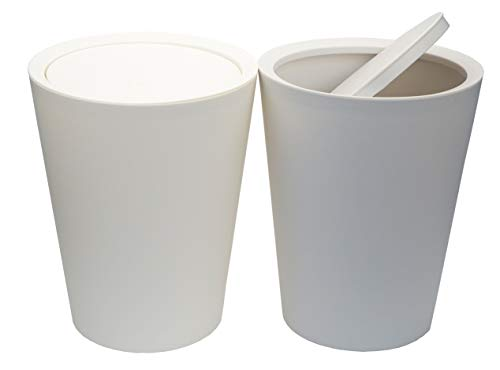 Feiupe 2 Gallon Small Trash Can Wastebasket for Bathroom Kitchen OfficePack of 2 2 Gallon2 Pack WhiteGray