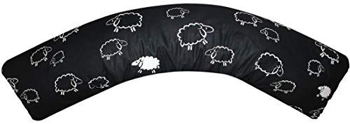 Heubergshop Baumwoll Renforcé Seitenschläferkissen Bezug 40x145cm - Süße Schafe Lämmer in Schwarz - Öko-Tex 100% Baumwolle Stillkissenbezug (91-1-B)