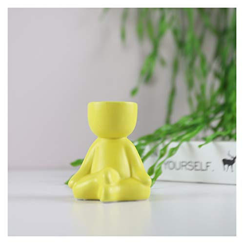 jinrun Plant Pots Creative Human-shaped Ceramic Flower Pot Mini Plant Planters for Desktop Usage Home Decoration Plant Containers (Color : Yellow 1)