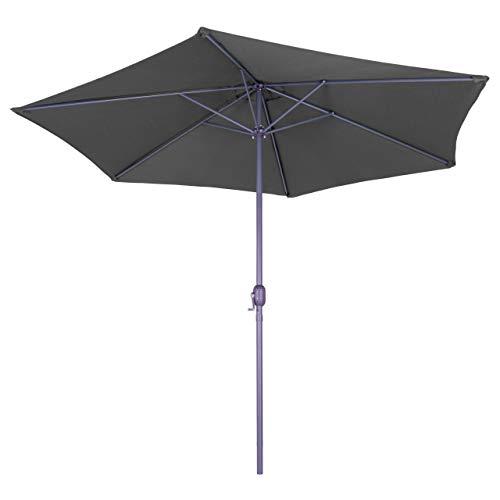 Nexos Sonnenschirm 3m Stahl-Gestell UV Schutz UPF 50+ Gartenschirm Marktschirm mit Kurbel Schirmstoff anthrazit wasserabweisend Höhe 230 cm