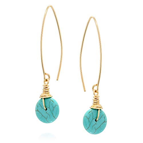 Women's 14k Gold-Filled Compressed Turquoise Dangling Long Wire Threader Earrings