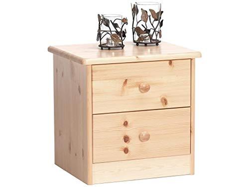 Wohnorama Nachttisch Nachtkommode 2 Schubladen Kommode Kiefer massiv Natur lackiert