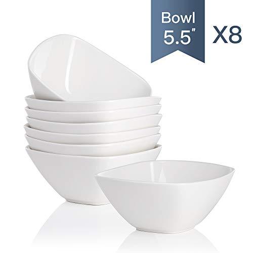 MALACASA, Serie Regular, Set Ciotola di Riso in Ceramica, 8 Pezzi Ciotola in Porcellana Bianca