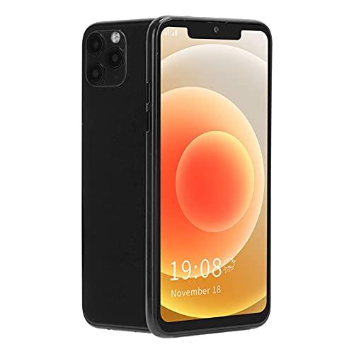 Teléfono móvil de 6.5 pulgadas, teléfono inteligente de pantalla grande, teléfono móvil con Bluetooth, teléfono móvil con pantalla Bang, modo de espera dual con tarjeta dual, soporte WIFI, GPS(negro)
