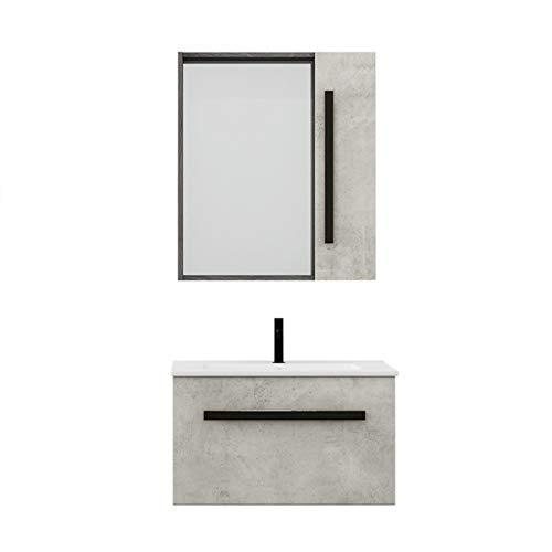 JenLn Cuarto de baño y Lavabo Combinación de baño Pequeño apartamento Lacado de Madera Libre Fregadero de cerámica con gabinete de Medicina. (Color : Gray, Size : 47x61x40cm)