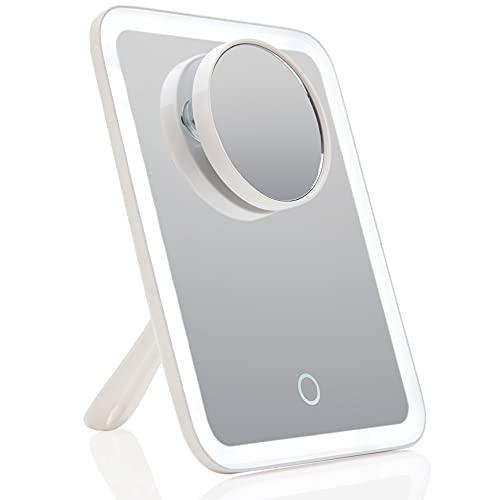 Fancii Espejo de Maquillaje Recargable con Luz LED y 3 Modos Iluminación, Aumento de 1x / 10x - Espejo Portátil para Cosmética, Sensor Táctil, Soporte Ajustable (Aura Go 2)