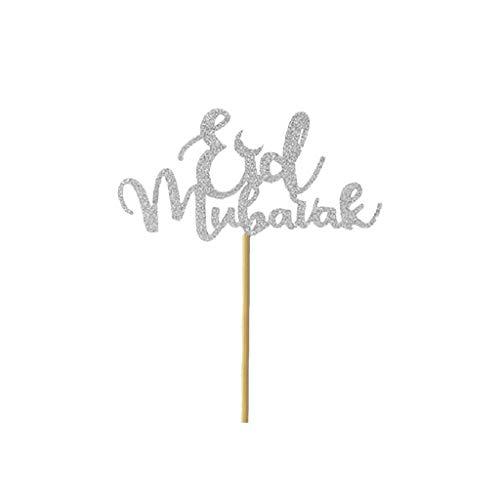 LRWEY Chocolat Fondant Gâteau Moules en Silicone Cupcake Cuisson Outils Cuisine Accessoires 5PCS Eid Mubarak Slam Cake Eid Mubarak DIY Ustensiles de Cuisine Convient aux Adultes et aux Enfants