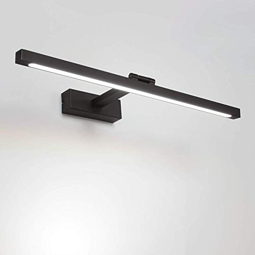 MantoLite LED Wandleuchte Bild Licht,Modern Badezimmer Lampe Nachttisch Leseleuchte Spiegel Leuchte Artwork Beleuchtung Fixture Mit Verstellbarem Leuchtenkopf,Aluminium 12W 60CM Dimmbar Schwarz Finish
