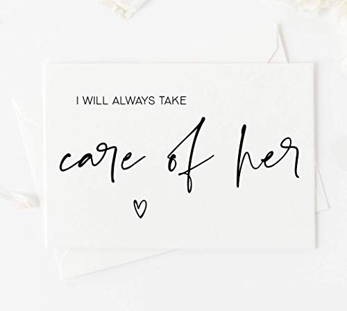 I Will Always Take Care of Her Wedding Day Card To Parents in Law, Gift for Mother of the Bride