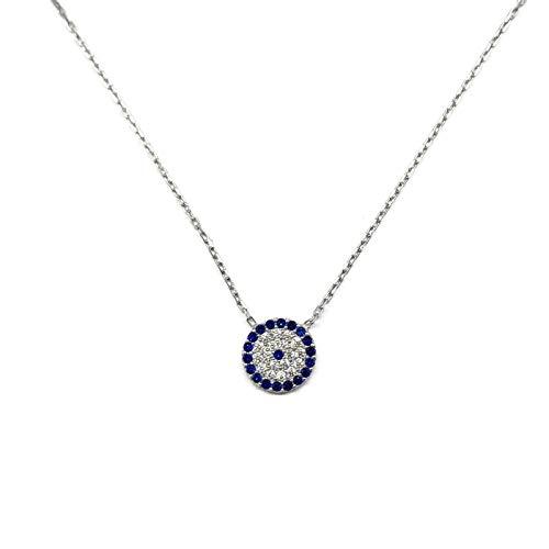 MYSTIC JEWELS by Dalia- Halskette aus 925er-Sterlingsilber mit Nazar-Anhänger, rund, mit Zirkonia (Silber)