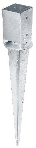 GAH-Alberts 208110 Einschlag-Bodenhülse für Vierkantholzpfosten, mit verstellbarem Topf - feuerverzinkt, 91 x 91 mm / 750 mm
