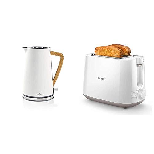 Nedis KAWK510EWT Wasserkocher | 1,7 l | Soft-Touch | Weiß & Philips HD2581/00 Toaster, integrierter Brötchenaufsatz, 8 Bräunungsstufen, weiß