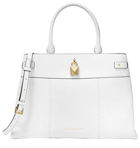 """Optic White Leather. Snap closure. Golden hardware. Double top handles with 5.5"""" drop. Adjustable crossbody strap with 18.5"""" - 22"""" drop. Interior: center zip compartment, 1 zip pocket, 8 slip pockets. 14.25""""(L) X 9.75""""(H) X 6.25""""(W)."""