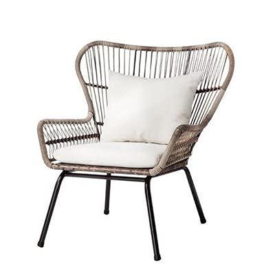 DPGPLP Sillas de Mimbre, Muebles de Exterior, Mesas y sillas, Sillas de balcón, Sillas de ratán de jardín, Sillas Individuales de ratán PE
