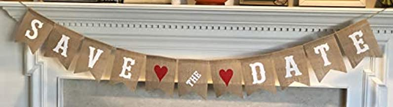 Save The Date Burlap Banner - Engagement Picture Prop Wedding Announcement - Ready to Hang Bridal Shower Decoration – White Letters & Red Hearts Garland by Jolly Jon
