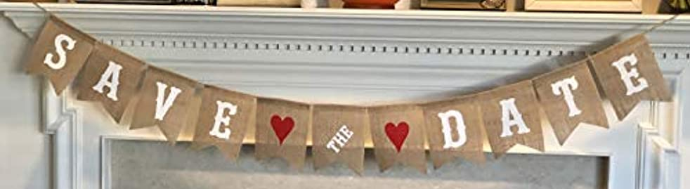 Save The Date Burlap Banner - Engagement Picture Prop Wedding Announcement - Ready to Hang Bridal Shower Decoration – White Letters & Red Hearts Garland by Jolly Jon ?