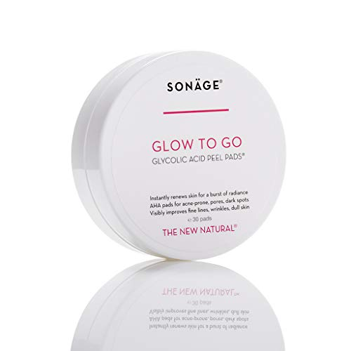Sonage Glow To Go Glycolic Acid Peel Pads, Exfoliating and Rejuvenating AHA Pads, For Oily, Combination or Blemish Prone Skin, Natural Ingredients, Alcohol-free, 30 Pads