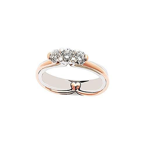 anello donna oro bianco con diamante Anello Trilogy In Oro Bianco E Rosa 18kt Con Diamanti Da Donna Polello