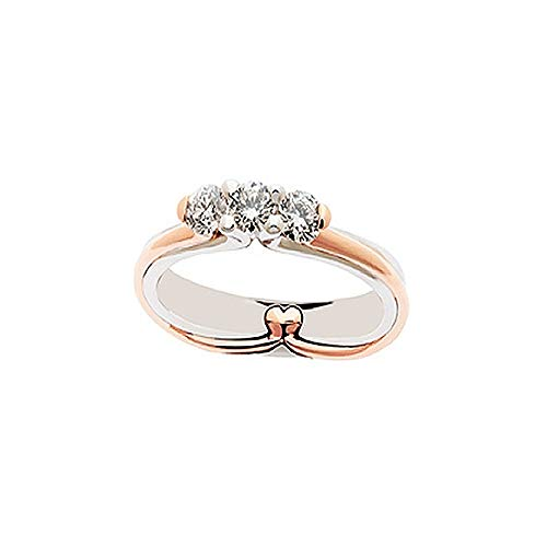 Anello Trilogy In Oro Bianco E Rosa 18kt Con Diamanti Da Donna Polello, 7