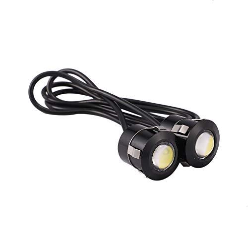 Gesh 2 luces LED de luz de seguridad para coche, motocicleta, luz blanca de 9 W, color negro