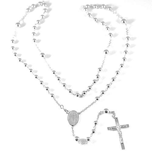 Collar rosario de Oro Blanco 75018K, medalla milagrosa, Cruz con Cristo, bolas 4–5mm, longitud de 55cm, Fabricado en Italia