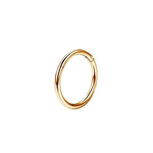 OUFER 16G 316L Stainless Steel Septum Hinged Clicker Segment Lip Nose Hoop Ring Helix Daith Tragus Cartilage Gold 6mm